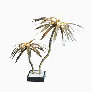 Brutalist Floor Lamp with Palm Trees, 1970s