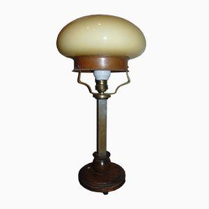 Lampe de Bureau Art Deco en Laiton et Bois