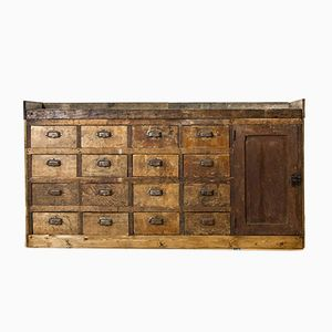 Vintage Workbench Counter with Drawers