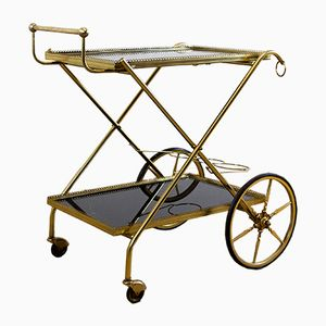 Vintage Gold-Colored Drinks Trolley