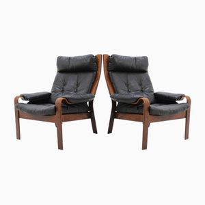 Danish Bentwood & Leather Lounge Chair, 1960s