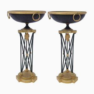 Athenian Pedestals in Bronze & Gilded Iron, 1960s, Set of 2