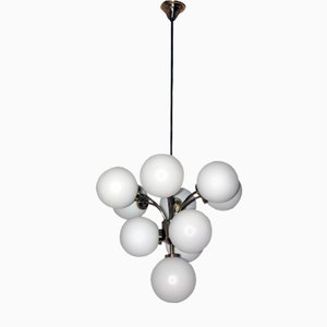 Chandelier with Opal Glass Globes from Rupert Nikoll, 1960s
