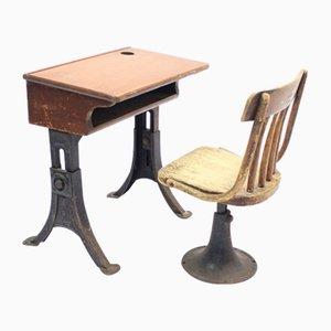 Chaise et Bureau d'École Vintage de Kenny Bros Wolkins
