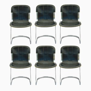 Black Leather Dining Chairs by Willy Rizzo for Cidue, 1970s, Set of 6