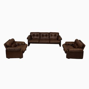 Brown Leather Coronado Living Room Set by Afra & Tobia Scarpa for C&B Italia, 1969