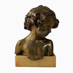 Art Deco Bronze Bust Sculpture by Jean-Marie Camus for Goldscheider