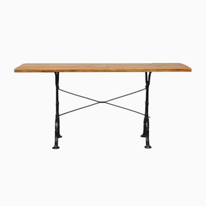 Solid Wood Console on Cast Iron Legs, 1950s