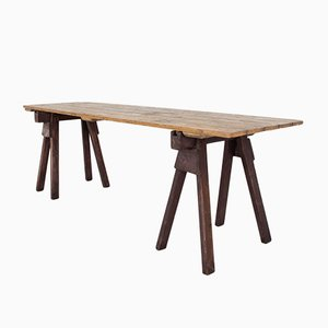 English Pine Trestle Table, 1920s