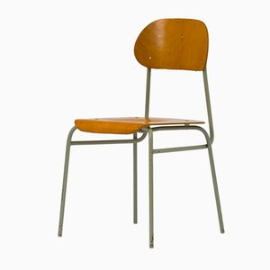 Vintage Plywood & Metal Stackable School Chairs, Set of 6