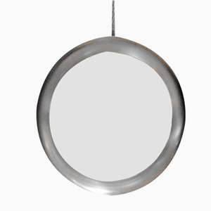 Circular Mirror with Steel Frame, 1970s