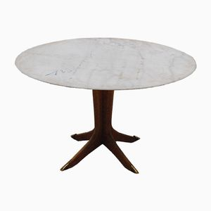 Circular Marble & Wood Dining Table, 1950s