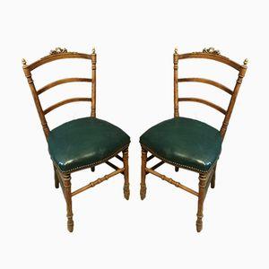 Antike Beistellstühle mit geschnitzten Gestellen, 2er Set