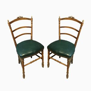 Antique Side Chairs with Carved Frames, Set of 2