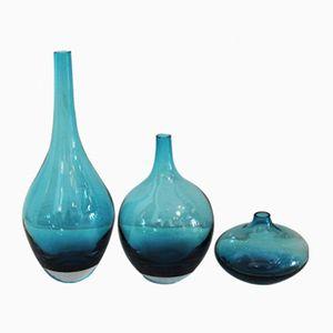 Vases en Verre Murano Bleu, 1950s, Set de 3
