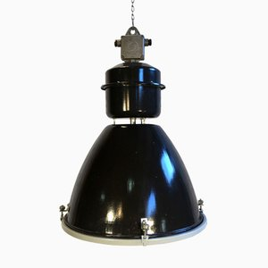 Large Industrial Black Enamel Factory Lamp with Glass Cover, 1960s