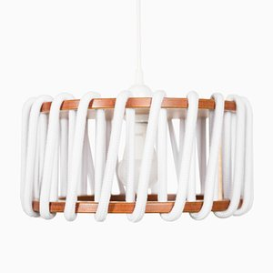 Small White Macaron Pendant Lamp by Silvia Ceñal for Emko