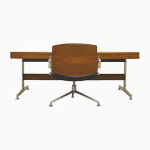Rosewood Executive Desk & FK84 Office Chair by Jorgen Kastholm & Preben Fabricius for Kill International, 1960s