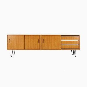Esche Sideboard mit Hairpin Füßen, 1950er
