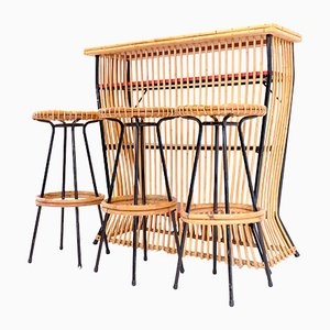 Rattan Bar with 3 Stools by Dirk van Sliedregt for Gebroeders Jonkers, 1950s