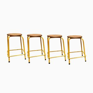 Vintage Yellow Metal Stacking Stools, Set of 4