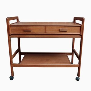 Vintage Teak Serving Trolley with Two Drawers