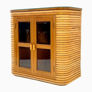 Small Bamboo, Teak, & Glass Showcase, 1970s
