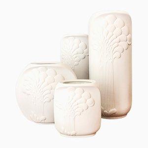 Mid-Century German White Vases by Manfred Frey for Kaiser-Porzellan, 1970s, Set of 4