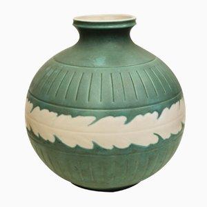 Vase Vert en Céramique par Giovanni Gariboldi pour Ginori, 1940s
