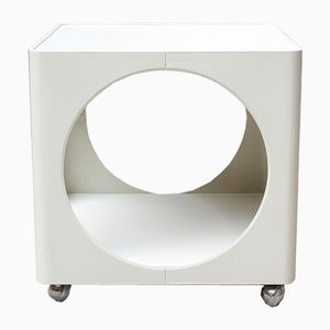 White Space Age Cube Table on Wheels, 1960s