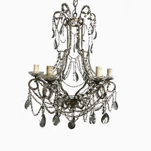 Vintage Crystal Beaded Chandelier with Light-Grey Crystal Drops