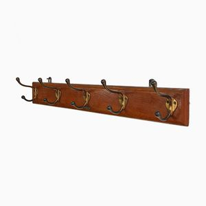 Vintage Brass & Oak Coat Hooks
