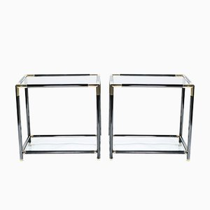 Brass & Glass Side Tables, 1970s, Set of 2