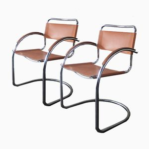 Italian Tan Leather Dining Chairs, 1960s, Set of 6