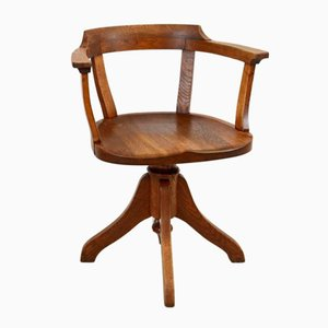 Vintage Industrial Oak Swivel Chair