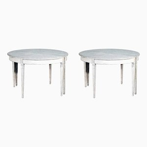 19th-Century Gustavian White Console Tables, Set of 2