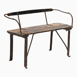 Antique Iron & Wood Train Bench