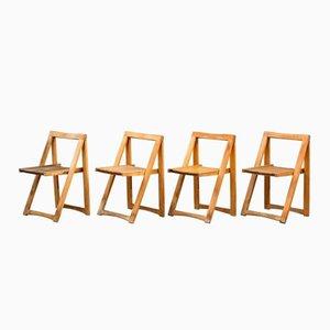 Danish Mid-Century Folding Chairs, Set of 4
