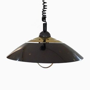 Conical Pendant in Gold & Black Metal, 1970s