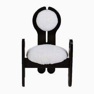 Handgearbeiteter Armlehnstuhl aus ebonisiertem Pinienholz von Szedleczky Design, 1970er