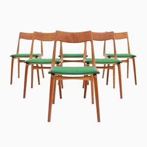 Boomerang Chairs in Teak by Eric Christensen for Slagelse Møbelværk, 1950s, Set of 6
