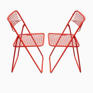 Red Foldable Chairs by Niels Gammelgaard for Ikea, 1970s, Set of 2