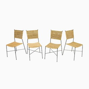 Dining Chairs in Wicker & Metal from Erlau, 1960s, Set of 4
