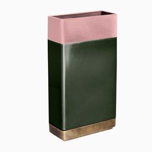 Vase en Laiton Vert & Rose par Dimorestudio pour Bitossi
