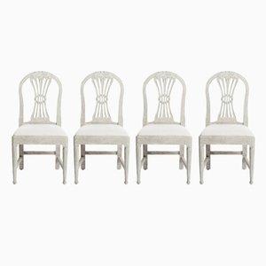 Antike schwedische Buchenholz Stühle, Set of 4