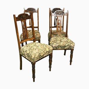 Jugendstil Eichenholz Stühle, 4er Set
