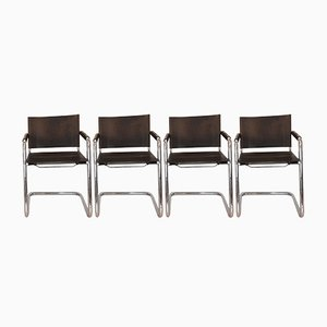 Vintage Leder Esszimmerstühle von H. Pfalzberger, 4er Set