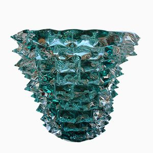 Vase Bleu Turquoise en Verre Murano avec Décor Spike, 1980s