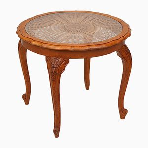 French Circular Coffee Table with Cane & Glass Top, 1950s