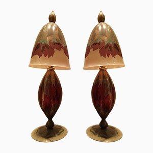 Handbemalte Vintage Glas Tischlampen von Vera Walther, 2er Set